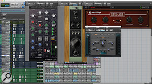 That's alot of plug-ins for ahandclap sound! Matt Schaeffer used multiple distortion and saturation processors in series to create the effect he was after.