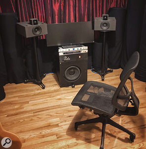 Ernster's home studio, where his work on Twice As Tall started. He has recently moved to adesk‑free setup in his home studio to eliminate deleterious reflections.