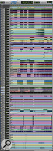 This composite Pro Tools screen capture shows most of the contents of Cam Blackwood's original tracking and rough-mix session.