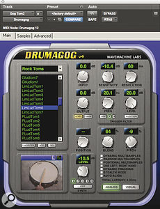 Wavemachine Labs' Drumagog was used to augment one of the tom tracks.