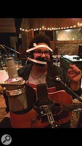 Three of the experimental vocal recording techniques that were tried at Sound Emporium: from left, Brittany Howard with headphones taped to her face, with her mouth stuffed with cotton wool, and singing into a  Yamaha Subkick.