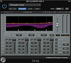 Among the many plug‑in effects on the vocal bus was Waves' C4 multiband parametric processor.