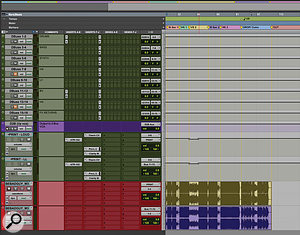 Most of the aux tracks in the 'Bad Guy' session are used to route submixes to Rob Kinelski's Dangerous summing mixer.
