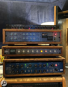 Some of the compressors used on 'Rain On Me'. Tom Norris originally experimented with using the Alesis 3630 (top) to achieve a pumping sound without sidechaining, but eventually settled on the SSL G-series bus compressor (second from bottom).