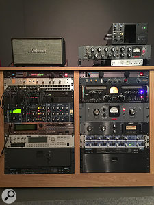 Soulfuel Studios' outboard racks (left rack from top): Marshall Stanmore aux reference speaker, Dangerous Music Monitor ST monitor controller, Hearback monitor hub, Studio Electronics SE1X, Roland XV5080 and Korg Triton Rack synth modules, MOTU MIDI Express XT interface; (right) API Lunchbox with 512B modules, Retro Powerstrip channel strip, Lucid Genx6 96 clock, BAE 1073 and Groove Tubes ViPre preamps, Retro Sta-Level and Kenetek 1176LN compressors, RME Fireface 800 (x2) and MOTU MIDI Express XT interfaces.