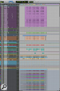 This composite screen capture shows the entire Pro Tools session for 'What I  Did For Love'.