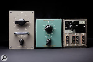 Like most large studios of the time, Abbey Road employed a  lot of custom equipment designed and built by its own engineers, including these variants on the RS127 Brilliance Control.