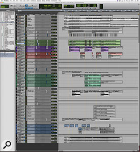 The final Pro Tools session for 'Sgt. Pepper's Lonely Hearts Club Band' grew much larger, thanks to the addition of numerous aux tracks and ADT bounces.