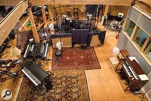 Taylor's backing band was tracked live at the Barn, with the singer/guitarist in a  booth. This photo shows the layout of the large space where the musicians played together.