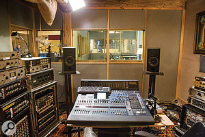 With no permanent control room or recording gear available at the Barn, Dave O'Donnell set up a  temporary working area to house a  selection of his own equipment and rental gear. The album was eventually mixed on this Yamaha DM2000 digital desk.