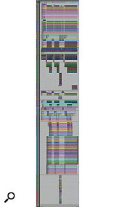 This composite screen capture, which is continued in another screenshot, shows the 189-track Pro Tools Edit window for 'Feel About You', with the exception of the aux and master tracks at the bottom.