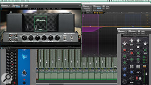 In a bid to recreate the experience and sound of mixing on a hardware console, Mark Needham relied mainly on the Waves SSL E channel plug-in. For a few sources, however, other plug-ins were also used, as here on the bass guitar.