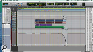 The bottom section of the Pro Tools Edit window shows various reference mixes that were re-recorded into the session, as well as the fade-out and group gain rides.