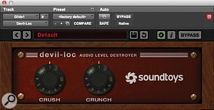 The 'Glide 1' keyboard part received some brutal treatment thanks to SoundToys' Devil-Loc.