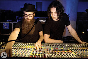 Joshua V Smith (left, with Jack White) is not only resident engineer at Third Man, but also White's stage tech.