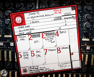 Jack White's love of primary colours even extends to his studio track sheets (this one is taken from 'Hypocritical Kiss' from Blunderbuss).