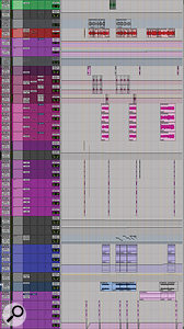This final selection from the 'Dead Inside' Edit window shows numerous lead and backing vocal tracks, as well as a  number of synth parts at the bottom.