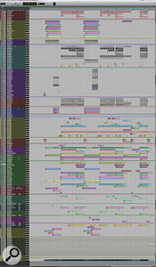 This composite screen captures shows the entire Pro Tools Edit window for 'Lust For Life'. Unusually, it is organised by contributor rather than by type of instrument!
