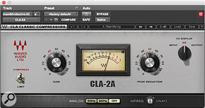 In a quest to get more 'spike' from Max Martin's synth bass part, the mixers added compression from the Waves CLA-2A plug-in, fine stereo detuning from the Avid Pitch II processor, and more Culture Vulture saturation.