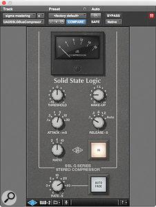 UAD-2 SSL G-series stereo bus compressor.