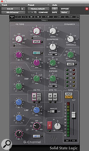 The only plug-in that was used on the drums was the Waves SSL G-Channel; these settings are from the kick drum track.