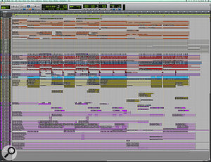 This composite screenshot shows the neatly organised and colour-coded Pro Tools session for 'Throne'.