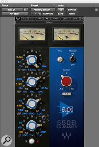 The bass DI track received a  huge 12dB boost at 2.5kHz to help it cut through, while the Waves CLA-76 compressor was employed to keep the bass amp track under dynamic control.