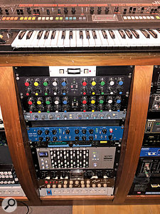 Mark Ralph's favourite 'in the box' equaliser is the software version of the GML 8200, two of which occupy pride of place in this Club Ralph rack. Also visible are TLA and Tube-Tech compressors, Lexicon PCM70 reverb, SSL X-Logic rack, Eventide Omnipressor compressor and Groove Tubes Trio guitar preamp.