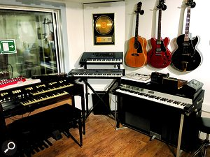 The live area is home to more desirable keyboard instruments, including a Hammond organ and Rhodes electric piano.