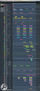 This huge composite screen capture shows the entire Cubase project for Illangelo's mix of 'The Hills'. Note the detailed automation on many tracks.