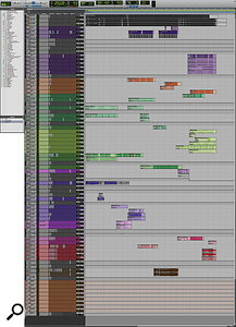This composite screen capture shows the entire Pro Tools session for 'Weight'. You can download a larger, zoomable version in the Zip file attached to this article's righthand sidebar.