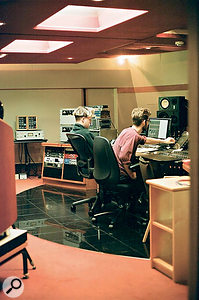 Russell 'Joba' Boring (left) and Andy Maxwell get stuck into amix in The Penthouse at Abbey Road.