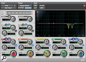 Relatively few plug-ins were used in the mix. Avid's Digirack EQIII was used to notch out acouple of problem frequencies in the drums.