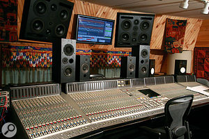 Michael Brauer's mix room is based around a large SSL desk.