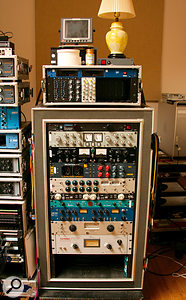 More Carranza outboard. From top: API & Speck EQs, Furman power conditioner, Altamoda Unicomp compressor, Thermionic Culture Vulture compressor, Chandler TG1 Abbey Road Edition limiter, Summit DCL200 compressor, Empirical Labs EL7 Fatso Jr tape simulator, Ridge Farm Boiler compressor, Tube–Tech CL2A compressor, Summit TLA100 compressor, Teletronix LA2A compressor.