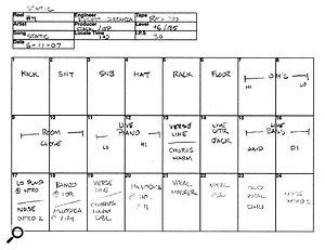 'Sleep Through The Static' track sheet.