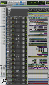 2: This composite screen capture shows the entire Pro Tools Session for 'How To Love', cropped to remove a large area of blank space to the right of the Edit window!
