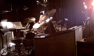Most of the album tracks were recorded with ajazz quartet playing in the same room as Tony Bennett and the guest singers, so mics were positioned fairly close to the sources to cut down spill. This photo shows part of Dae Bennett's drum miking setup, with two Audio-Technica AT4080s as overheads; also visible is the Neumann KM184 on hi-hat.