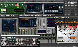 5: This screenshot shows all eight of the plug-ins used to process Lil Wayne's lead vocal. Three of these — McDSP's Analog Channel and the UAD Studer A800 and Fatso — are providing analogue-style warmth and saturation; there are also two Waves De-essers, a Renaissance EQ and two Waves compressors.