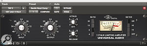 Niebank's approach to mixing vocals involves multing the lead vocal to several tracks and applying parallel processing, here using the UAD 1176 compressor.