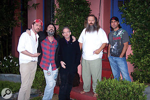 Producer Rick Rubin and the band outside his Akademie Mathematique studio. From left: Matt Sweeney, Mike Campbell, Benmont Tench, Rick Rubin, and engineer Dan Leffler.