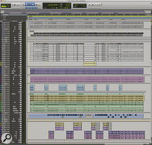 A composite screenshot showing the entire Pro Tools Session for 'Heatwave'.