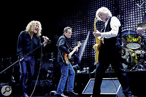 The 2007 Ahmet Ertegun Tribute Concert saw the three surviving members of Led Zeppelin play a unique reunion show. From left: Robert Plant, John Paul Jones and Jimmy Page; on drums is Jason Bonham, son of the band's legendary drummer John.
