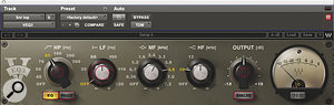 Most of the vintage qualitywas applied at the mix, much of it using plug‑ins. Here, for instance, the snare top track is treated with Waves'  VEQ3, Avid's Lo‑Fi and Waves' Renaissance EQ.