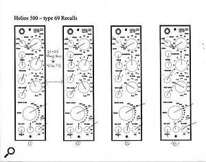 These recall sheets show Alan Moulder's settings for the hardware Helios Type 69 equalisers. The first two settings were for Jimmy Page's main guitar, the second pair for his 12-string.
