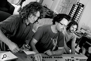 Although 'Somebody That I Used To Know' was mixed 'in the box' at François Tétaz's Moose Mastering, several of the other tracks on Making Mirrors were mixed at Andy Stewart's The Mill studio. From left: Andy Stewart, François Tétaz and Wally 'Gotye' de Backer.