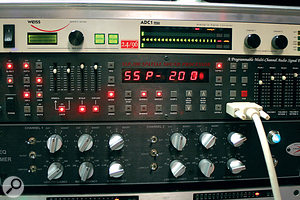 One of the many unusual pieces of gear at Paper VU is the Sensortech SSP200 Spatial Surround Processor, with its joystick‑based remote control (right). Beneath it in the rack is the ADesigns Hammer EQ which was used extensively on 'Boom Boom Pow'.