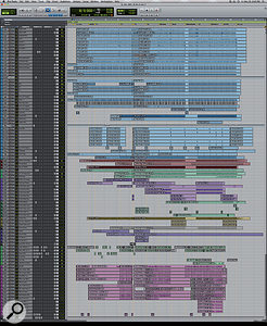 This composite screenshot shows the entire Pro Tools Edit window for 'Because We Can'.