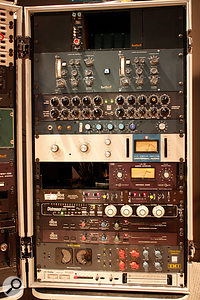 This rack houses most of the outboard processors used on the mix of 'Sex On Fire', including the Sontec EQ, Neve 1099, 'blue stripe' Urei 1176, Teletronix LA3A, Empirical Labs Distressor, Dbx 902, Chandler TG1 and Dolby A encoders.