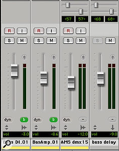 The final Pro Tools Session included four bass tracks: the original miked and DI'd recordings, and duplicates treated with AMS hardware and Sound Toys (right) software delays.